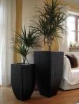 Polyrattan Blumenkübel Goa schwarz 80cm