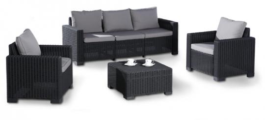Best Lounge Set Mombasa 4-teilig graphit/hellgrau