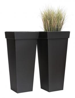 """Zink Blumenkübel """"Shanghai"""" 2er Set schwarz 50cm"""