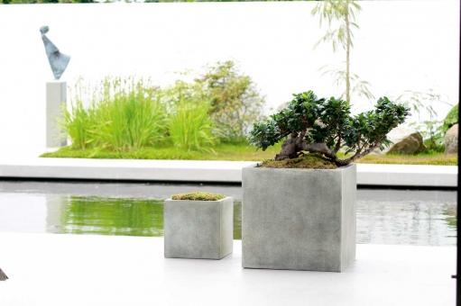 Fiberglas Pflanzkübel Esteras Farnley 30er betongrau