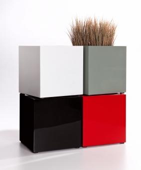 Fiberglas Blumenkübel Cube Hochglanz 60cm Schwarz RAL 9005