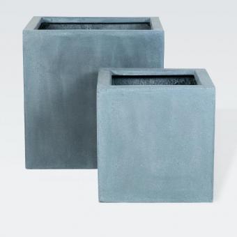"Fiberstone Pflanzkübel ""Block"" grau 30x30x30cm"