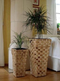 "Casa Mina Wasserhyazinthe Blumenkübel ""Kandal"" 2er Set natur 70/57cm"