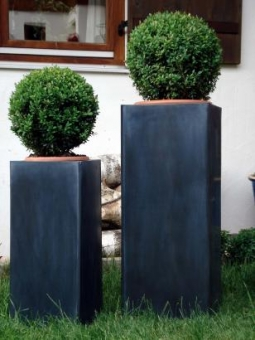 Zink Blumenkübel Hongkong 2er Set schwarz 80/60cm
