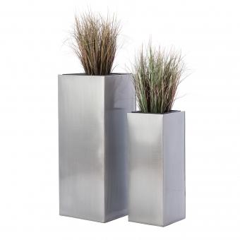 Casa Mina Zink Blumenkübel Hongkong 2er Set silber 80/60cm