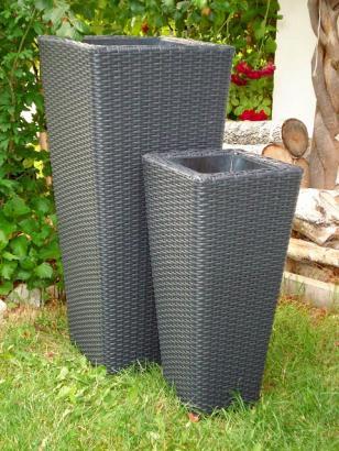 polyrattan blumenk bel rangoon 2er set grau. Black Bedroom Furniture Sets. Home Design Ideas