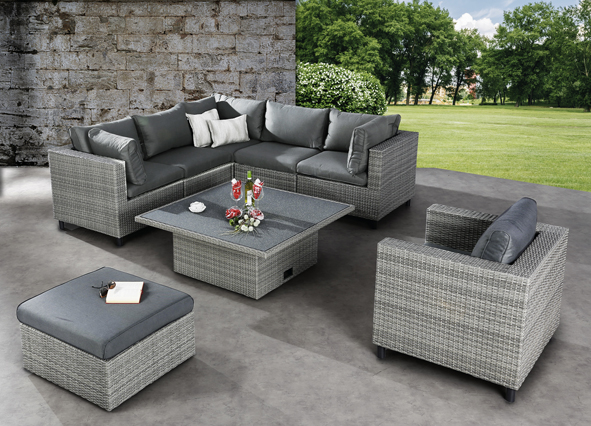 best lounge set bonaire 6 teilig warm grey. Black Bedroom Furniture Sets. Home Design Ideas