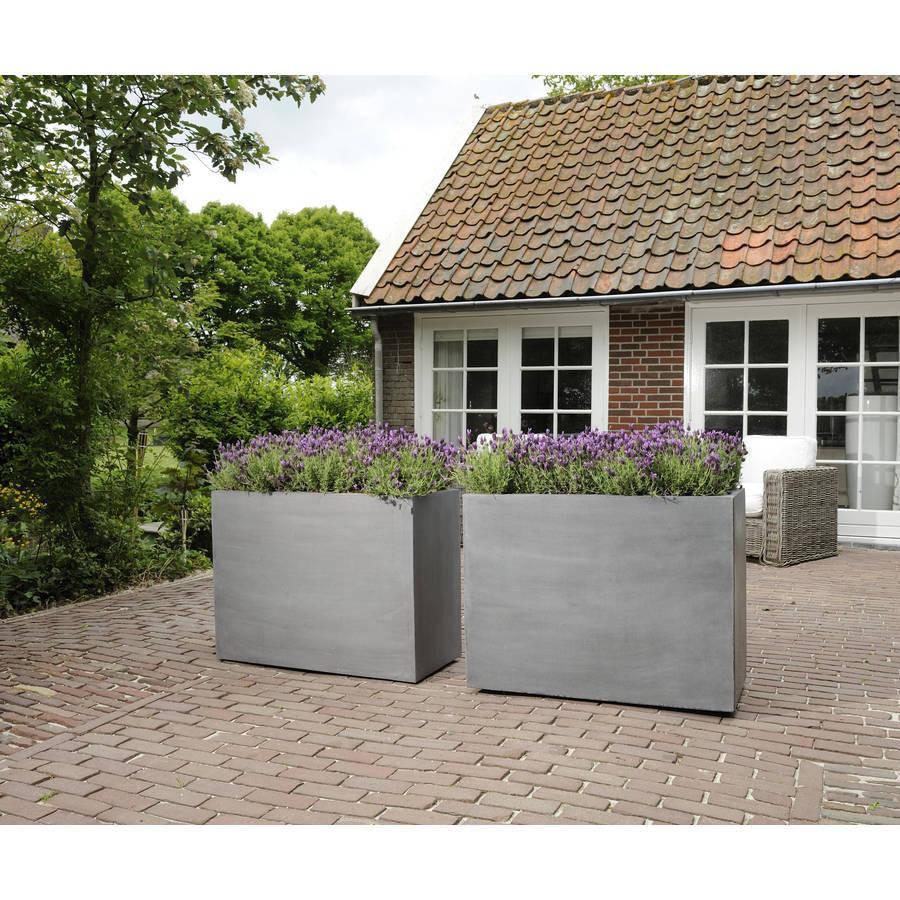 """Terrasse Moderne Tage Cr Terrasse En Bois Avec Piscine: Fiberstone Blumenkasten """"Jort"""" Grau 80x30x40cm"""